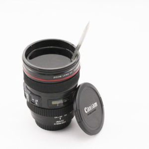 Camera lens coffee or beer cup_