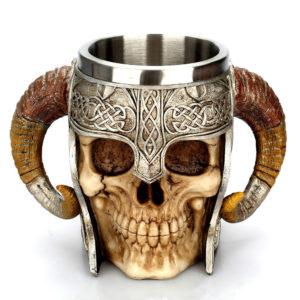 Viking warrior skull cup