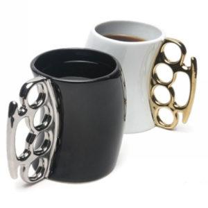 brass knuckles coffee mug